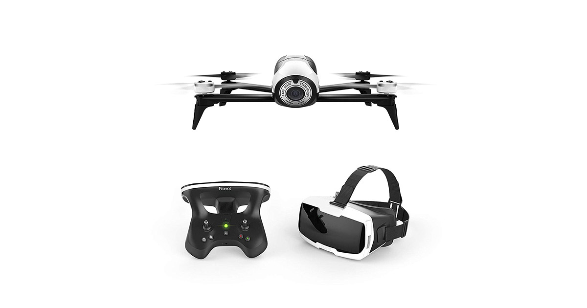 Parrot Bebop 2 FPV Drone Kit with Parrot CockpitGlasses and Parrot SkyController 2 White Renewed image