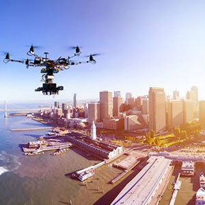 Drone application in aerial photography image