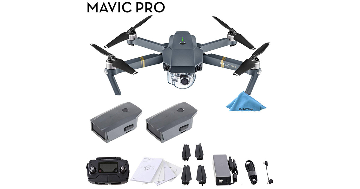 DJI Mavic Pro 4K Gray Quadcopter with Remote Controller 2 Batteries image
